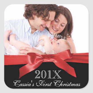 Baby's First Christmas Photo with Red Ribbon Square Sticker