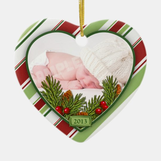 Baby's First Christmas Photo Xmas Candy Stripes Ceramic Ornament