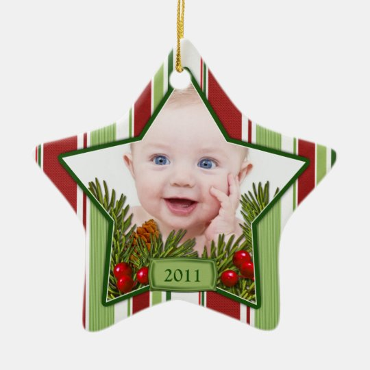 Baby's First Christmas Photo Xmas Ornament - Star