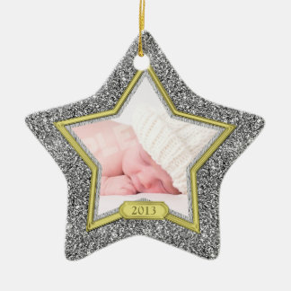 Baby's First Christmas Photo Xmas Silver Gold Star Double-Sided Star Ceramic Christmas Ornament