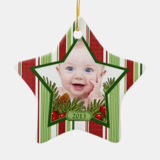 Baby's First Christmas Photo Xmas Stripes Star Double-Sided Star Ceramic Christmas Ornament