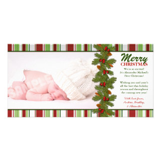 Baby's First Christmas Pine Boughs Photo Card
