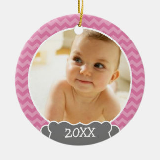 Babys First Christmas - pink chevrons and gray Christmas Ornaments