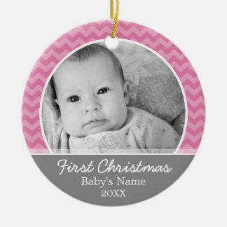 Babys First Christmas - pink chevrons and gray Double-Sided Ceramic Round Christmas Ornament