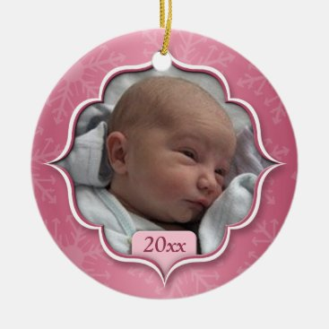 Toddler & Baby themed Baby's First Christmas Pink Photo Ornament