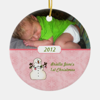 Baby's First Christmas Pink Snowman Ornament