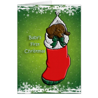 Baby's First Christmas Puppy Dog in Stocking Greeting Card
