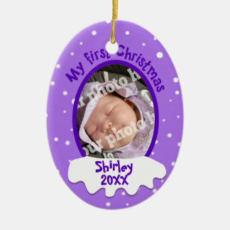 Baby's First Christmas Purple Personalized Photo Double-Sided Oval Ceramic Christmas Ornament