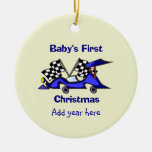 Babys First Christmas Racecar Double-Sided Ceramic Round Christmas Ornament