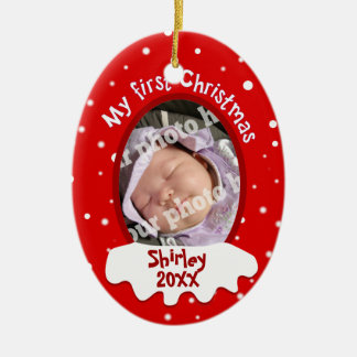 Baby's First Christmas Red Add Your Picture Name Double-Sided Oval Ceramic Christmas Ornament