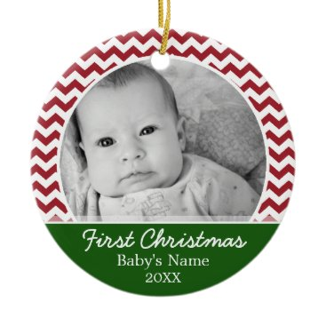 Christmas Themed Babys First Christmas - red chevrons and green Ceramic Ornament