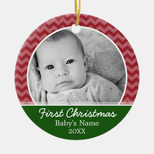 Babys First Christmas - red chevrons and green Double-Sided Ceramic Round Christmas Ornament