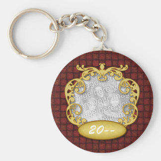 Baby's First Christmas Red Custom Photo Basic Round Button Keychain