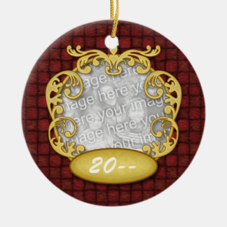 Baby's First Christmas Red Custom Photo Ceramic Ornament
