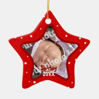 Baby's First Christmas Red Photo Frame Star Pic