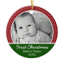 Babys First Christmas - Red Polka Dots Ceramic Ornament