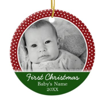 Christmas Themed Babys First Christmas - Red Polka Dots Ceramic Ornament