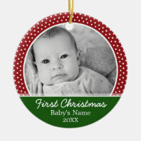 Babys First Christmas - Red Polka Dots Double-Sided Ceramic Round Christmas Ornament
