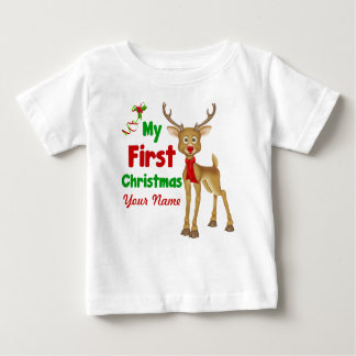 Baby's First Christmas Reindeer Baby T-Shirt
