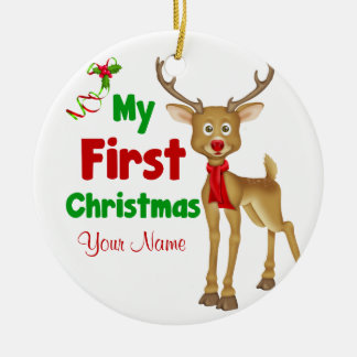 Babys First Christmas Reindeer Double-Sided Ceramic Round Christmas Ornament