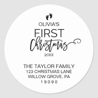 Baby's First Christmas Return Address Classic Round Sticker