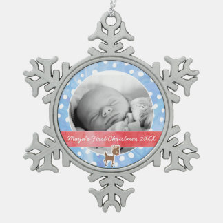 Baby's First Christmas Rudolph Snowflake Pewter Christmas Ornament