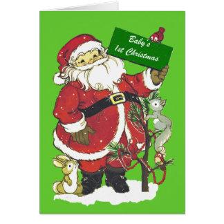 Baby's First Christmas Santa Photo Greeting Card