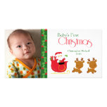 Baby's first Christmas santa sleigh photo card