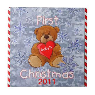 Baby's First Christmas Small Square Tile