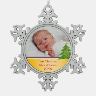 Baby's First Christmas Snowflake Pewter Christmas Ornament
