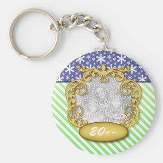 Baby's First Christmas Snowflake Stripe Blue Green Basic Round Button Keychain