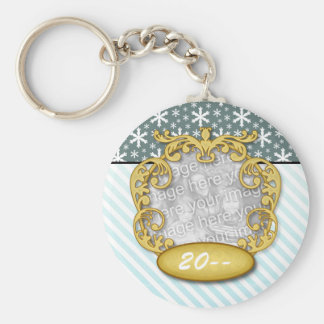 Baby's First Christmas Snowflake Stripe Blue teal Basic Round Button Keychain