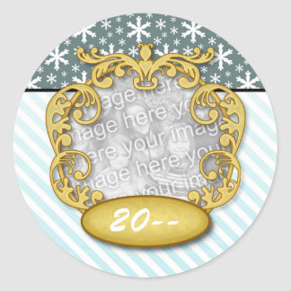 Baby's First Christmas Snowflake Stripe Blue teal Classic Round Sticker