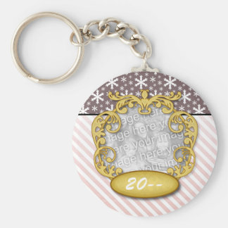 Baby's First Christmas Snowflake Stripe Red Maroon Basic Round Button Keychain