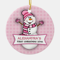Baby's First Christmas Snowman Ornament at Zazzle