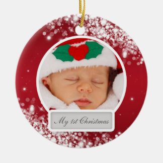Baby's First Christmas Sparkling Wave Red Christmas Ornaments