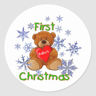 Baby's First Christmas Round Sticker