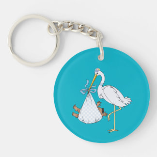 Baby's First Christmas Stork Blue Customizable Keychain