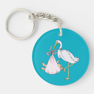 Baby's First Christmas Stork Pink Customizable Keychain