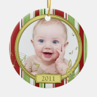 Baby's First Christmas Stripes Music Ornament