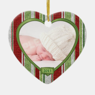 Baby's First Christmas Stripes Photo Heart Xmas Ornaments