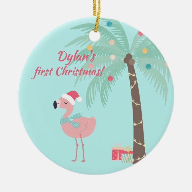 Baby's First Christmas - Sweet Santa Flamingo