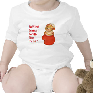 Baby's First Christmas Vintage Girl in Mitten T-shirt