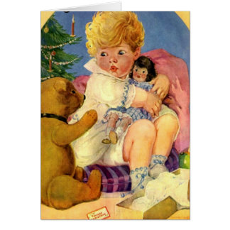 """""""BABY'S FIRST CHRISTMAS"""" VINTAGE SNUGGLY TOYS CARD"""
