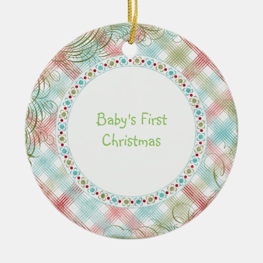 Babys First Christmas Whimsical Plaid Personalized Ceramic Ornament