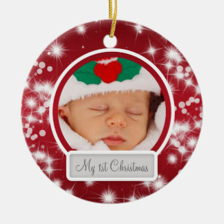 Baby's First Christmas Winter Sparkle Red Ceramic Ornament