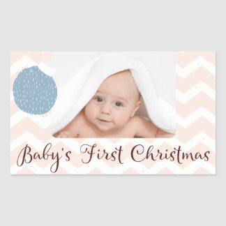 Baby's First Christmas with Photo Rectangular Sticker