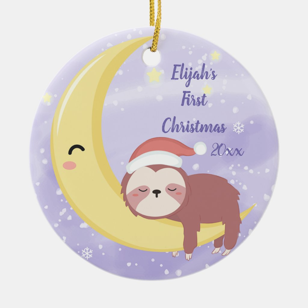 Baby's First Christmas with Sloth and Moon Ceramic Ornament