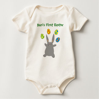 Babys First Easter Grey Bunny Personalized Creeper