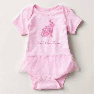 Baby's First Easter Pink Heart Bunny Baby Bodysuit